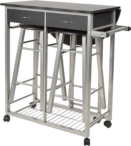 KDBEB 3 Piani Carrello Portavivande da Esterno con Ruote,Rosa Acciaio Trolley Estetista per Ufficio Bagno Cucina