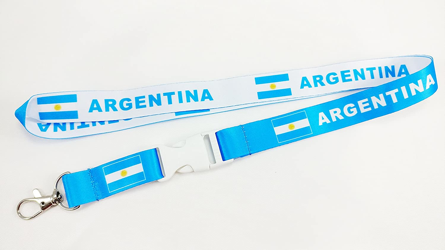 Argentina Flag Reversible Lanyard/Keychain with Clip for Keys or id Badges. Great for Work id Badges, School id Badges, car Keys, and Work Keys
