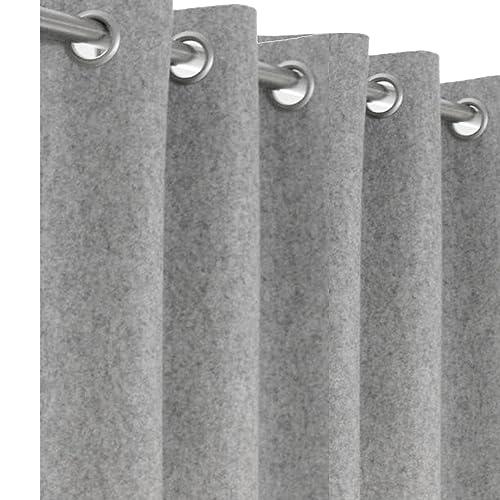 Wool Felt Curtains Light Gray Curtain Panel Custom Window Customized Door