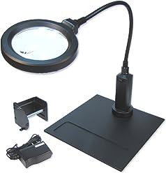 Carson CP-90 MagniFlex Pro 2X Standlupe mit 4X Spot, Magnetfuß, 16 LED inkl. Klemme für Befestigung/Batterie/Netzteil