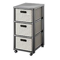 rotho 1654080100 Rollcontainer mit 3 Schüben im Rattan-Look aus Kunststoff PP, Schübe in DIN A4 Format, Körbe auf beiden Seiten herausnehmbar, schwarz/weiß