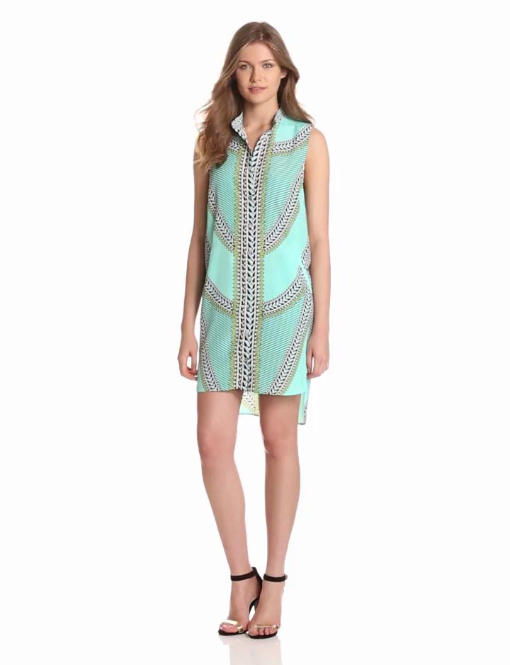 Mara Hoffman Womens Sleeveless Shirt Dress, Shields Mint, X Small