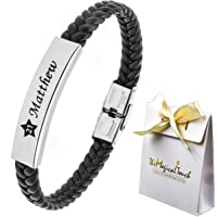 TMT® Personalised Men's Leather Bracelet Adjustable Size For Dad ★ ID Identity ★ Birthday ★ Name Engraved Black ★ Best Men