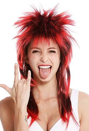 WIG ME UP ® - DH1069-PC103TPC13 Peluca Carnaval Punk Melena roquero Salvaje los 80 Pelo Wave erizado Largo Negro Rojo
