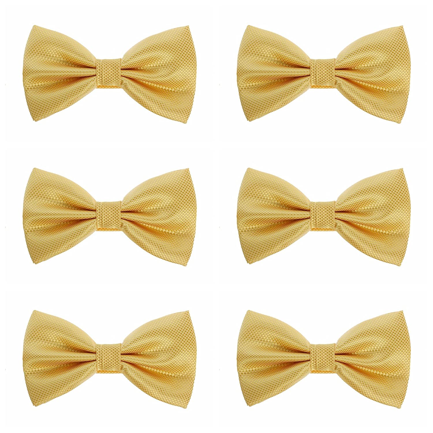 Mens Boys Formal Bow Ties - 6 Pack of Solid Color Adjustable Pre Tied Bowties (Gold)