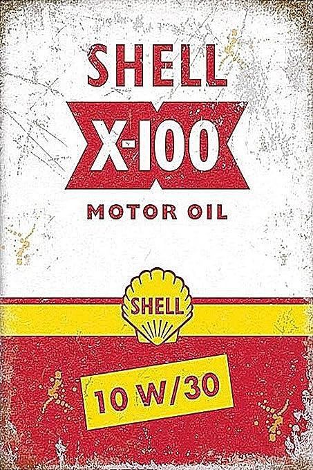 Auggies Set Blechschild Shell Motor Oil Benzin Metall Retro Schilder Plaketten Wandsticker Vintage Look 30 5 X 20 3 Cm Shell Motor Oil X5 Küche Haushalt