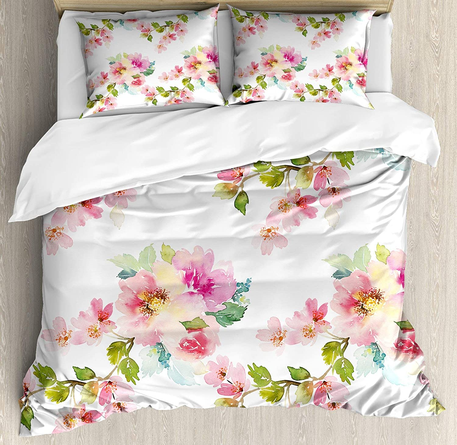 Multi 4 Twin Green 4pc Bedding Set Twin Size, Three Vibrant Butterflies on White Backdrop Magical Spring Nature Floral Lightweight Microfiber Duvet Cover Set, Lime Green Fern Green Black