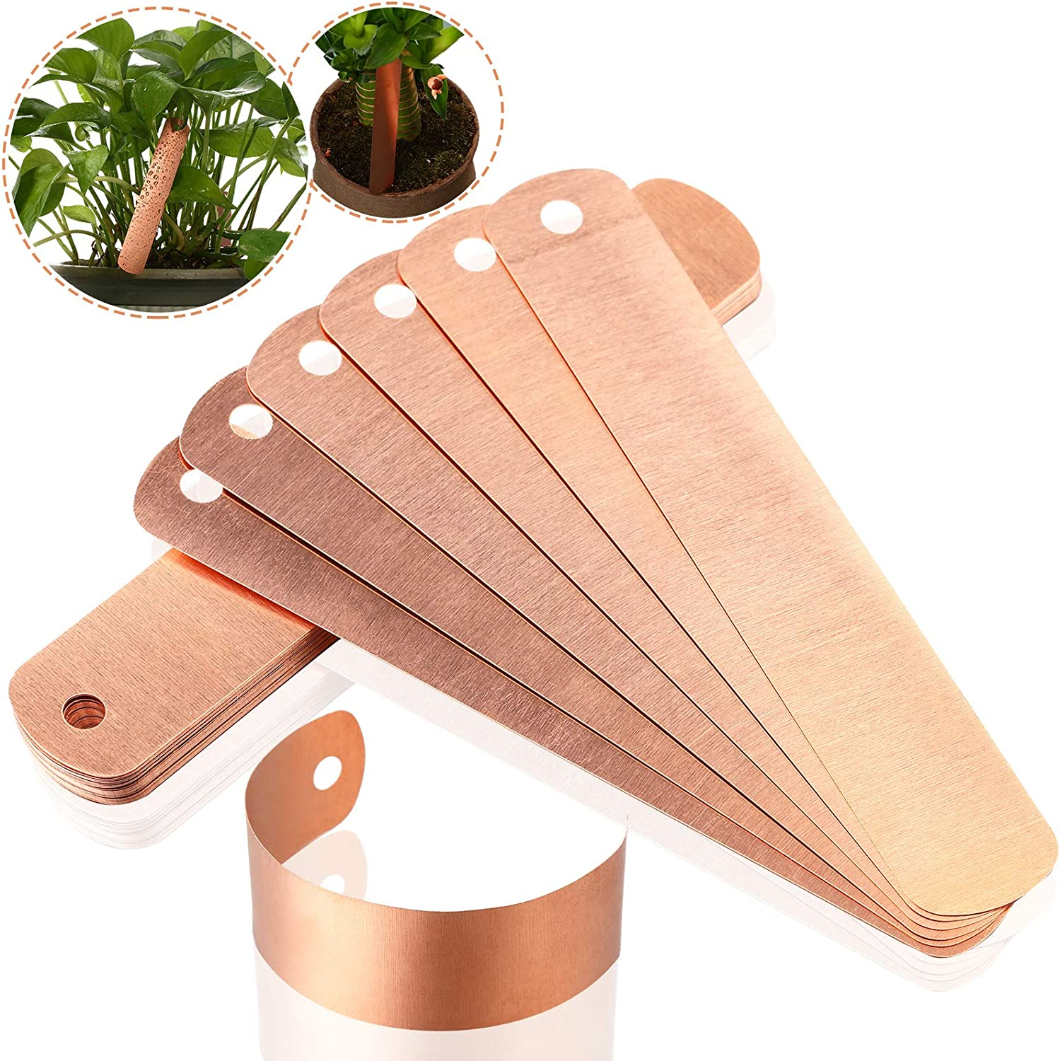 Hotop 30 Pieces 4.5 Inch Copper Plant Tags Long Copper Garden Labels Reusable Plant Tree Labels with 30 Pieces Copper Ties for Gardening Plants