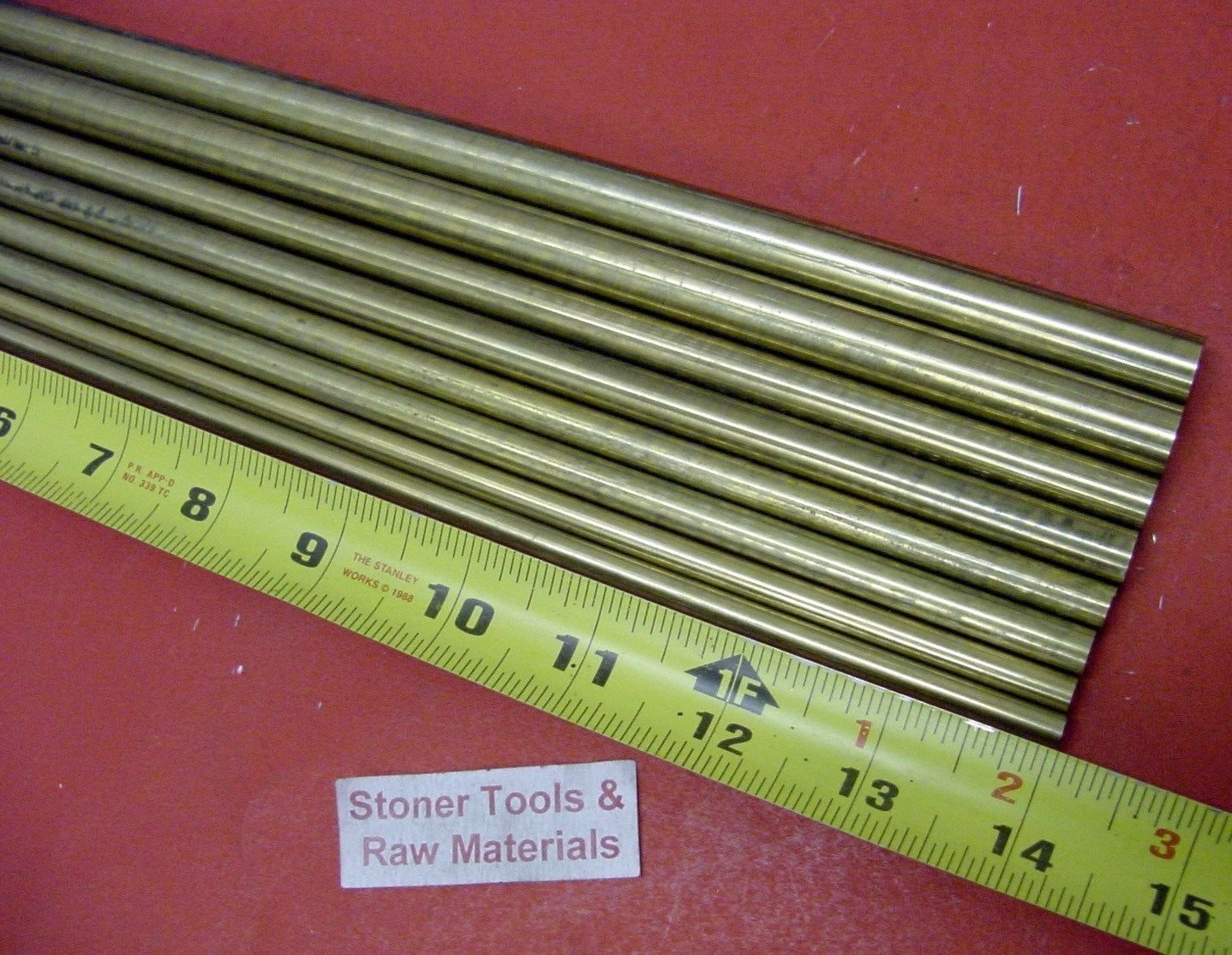 1/4'', 5/16'', 3/8'' & 1/2'' C360 BRASS ROUND 8 Pc ASSORTMENT SOLID ROD 14'' long #3.72 by Stoner Metals
