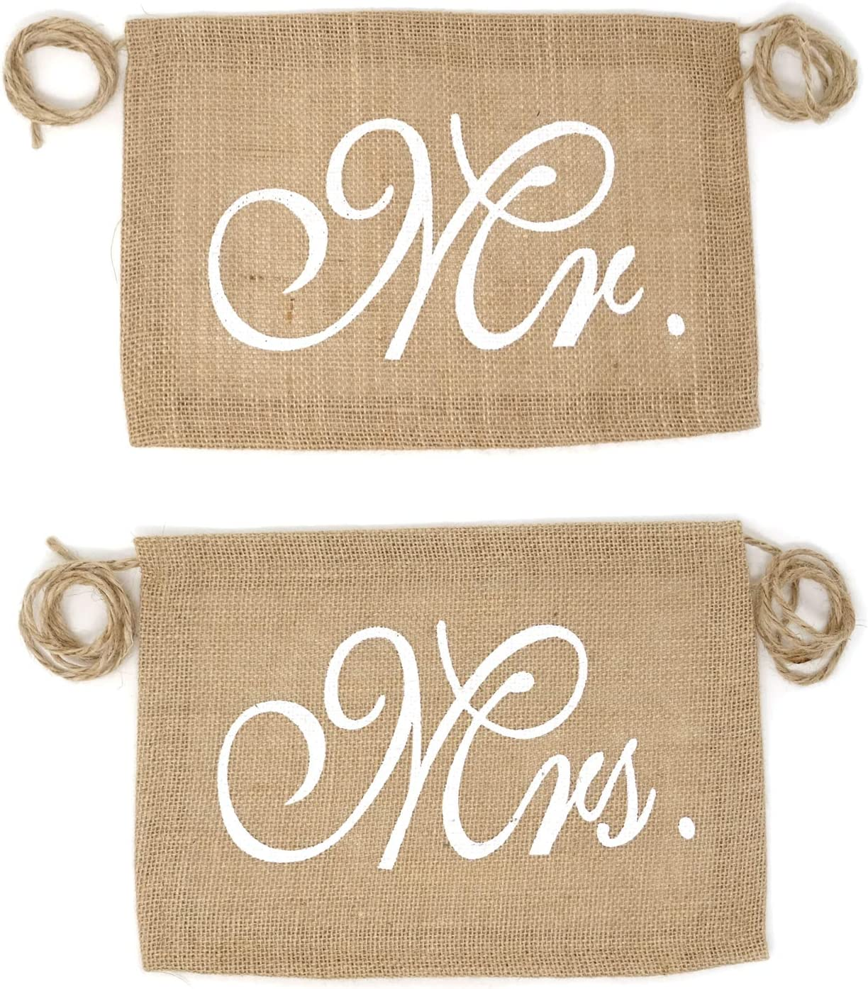 Honbay Mr and Mrs Chair Burlap Chair Banner Bride & Groom Chair Signs Garland for Vintage Rustic Wedding Decorations, Engagement Party Supplies