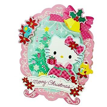 Hello Kitty Merry Christmas.Amazon Com Glittery Hello Kitty Merry Christmas Pop Up