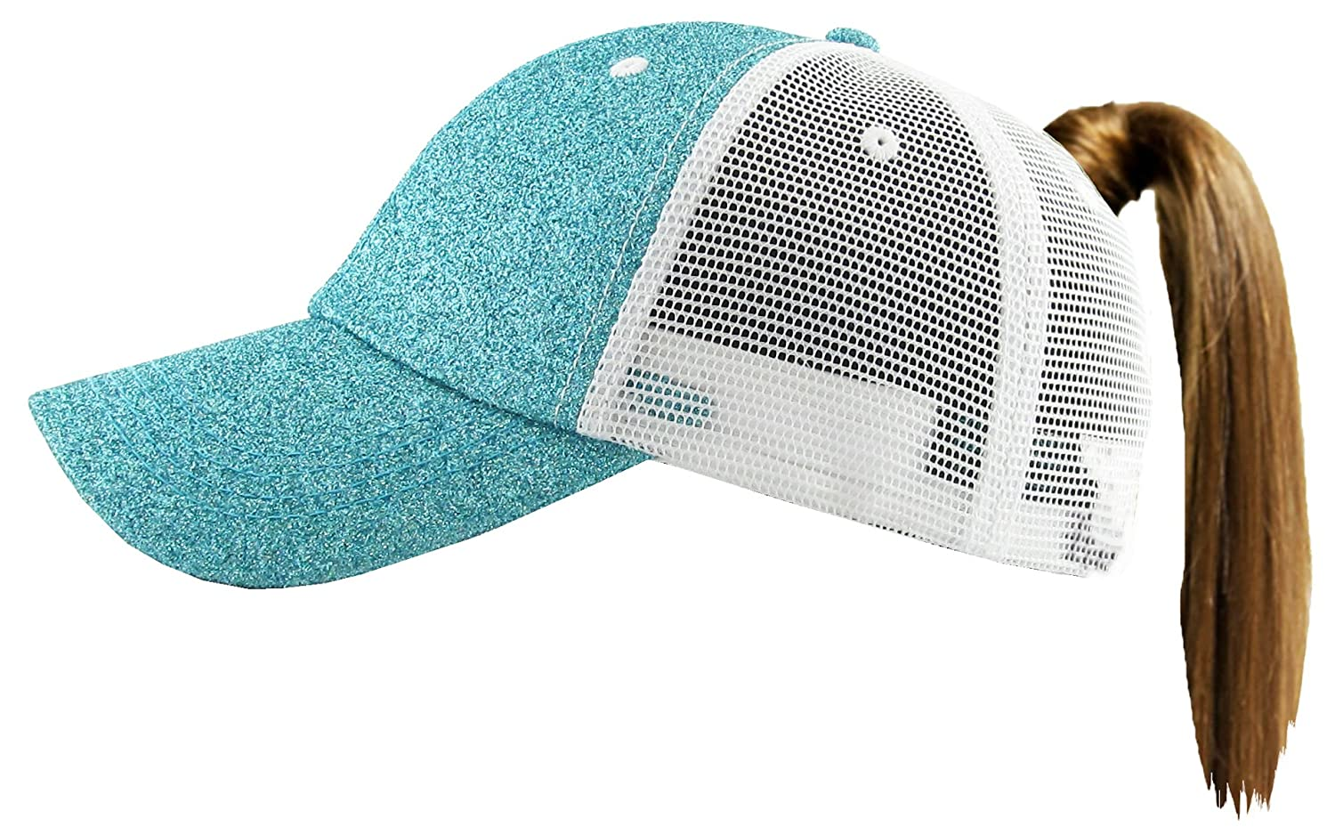 Funky Junque Womens Baseball Cap Glitter Dad Hat Ponytail Messy Bun Trucker H-216-GM54-FJ
