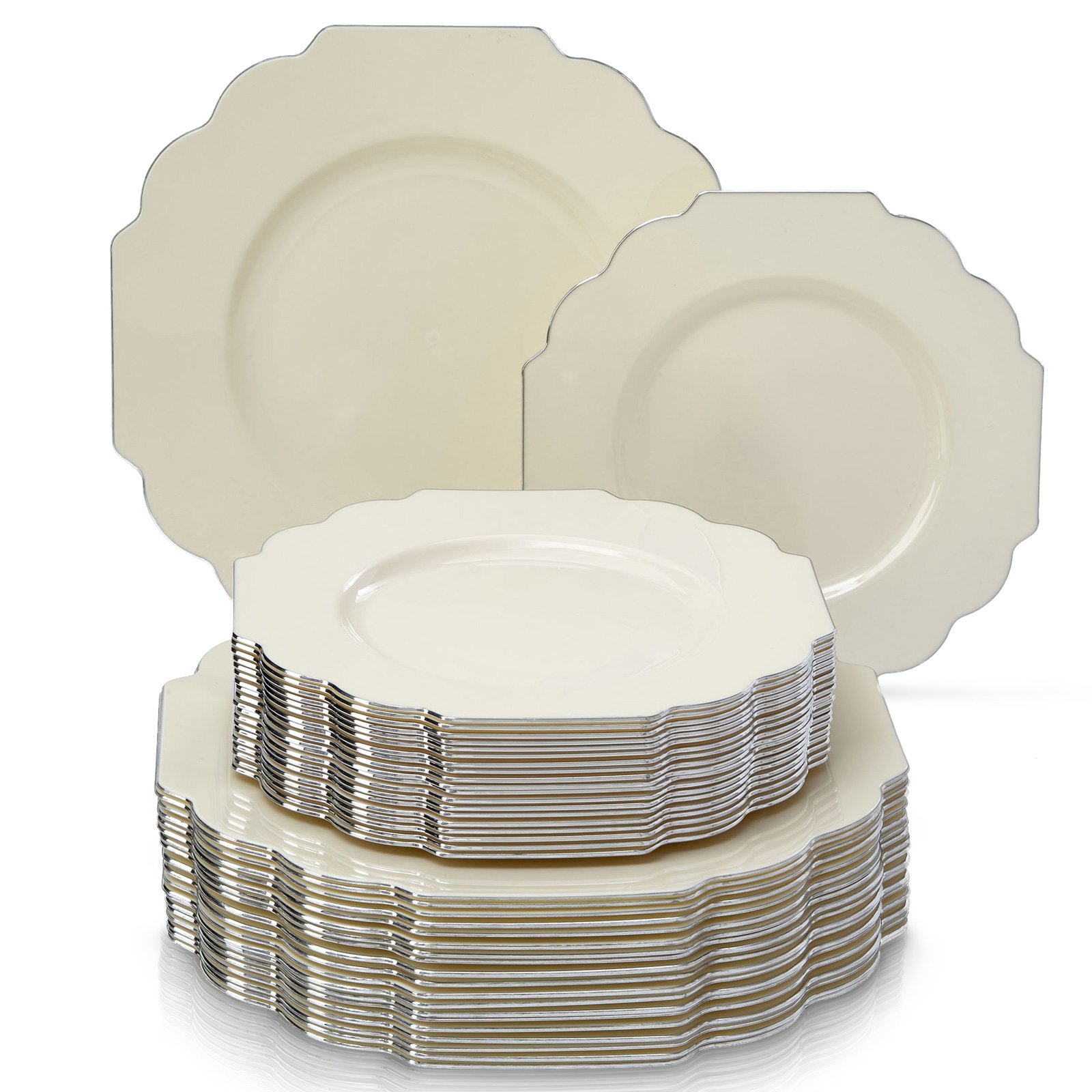DELUXE DISPOSABLE 24 PC DINNERWARE SET | 12 Dinner Plates and 12 Dessert Plates | Durable Plastic Dishes | Elegant Fine China Look | for Upscale Wedding and Dining (Baroque-Ivory)