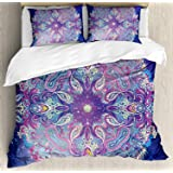 Ambesonne Ethnic Duvet Cover Set, Yoga and Meditation Cosmos Theme Psychedelic Composition, Decorative 3 Piece Bedding…