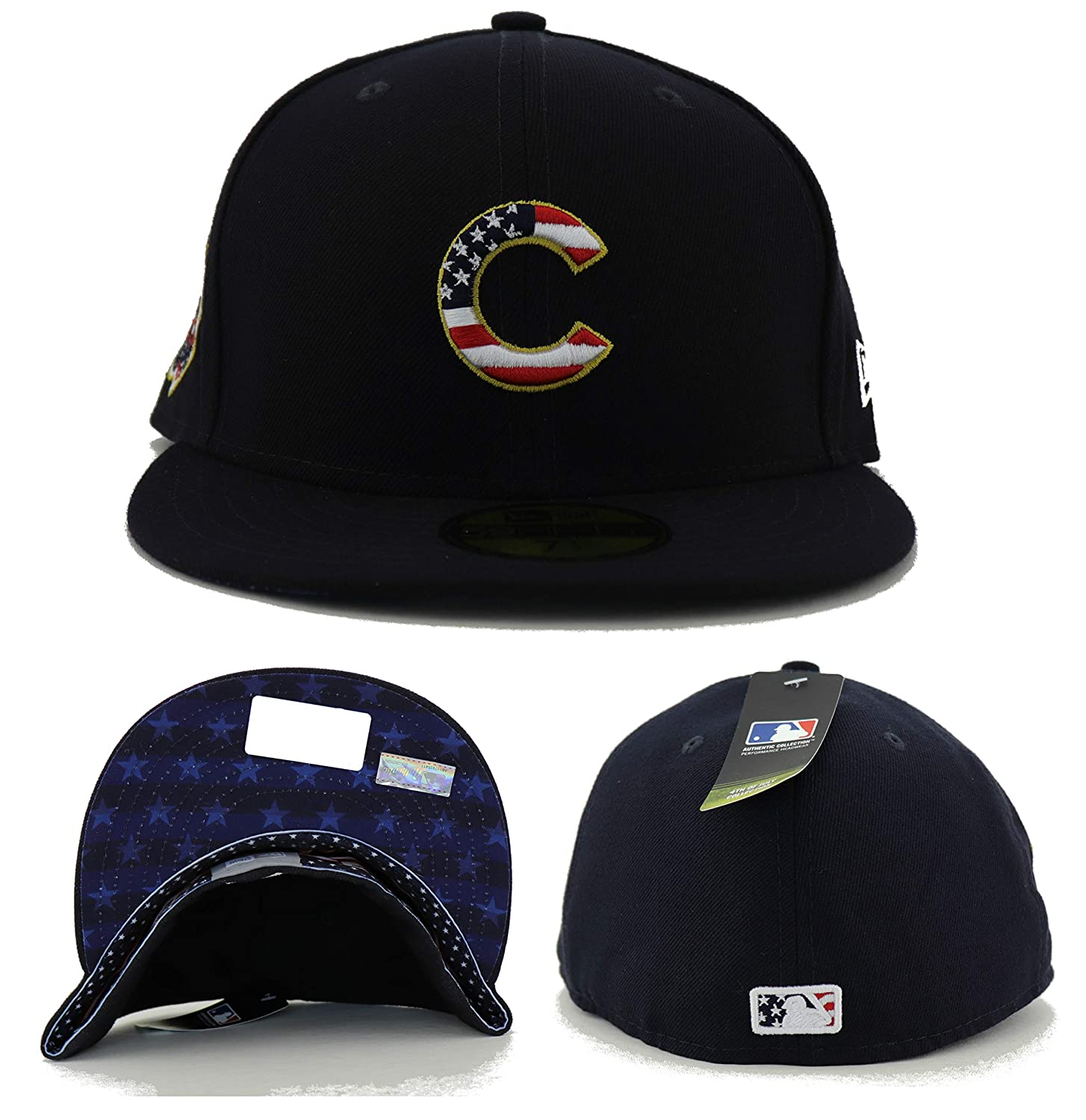 502a7ebc79fea6 Amazon.com: New Era Chicago Cubs 2018 July 4th Stars and Stripes 59FIFTY On  Field Fitted Hat: Clothing