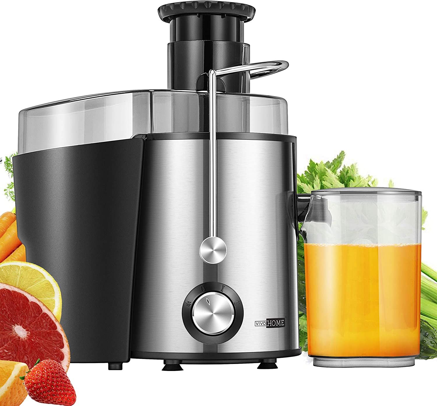 VIVOHOME 400W Centrifugal Juicer Machine, 2-speed Juice Extractor with Safety Lock Arm, Overloading Protection