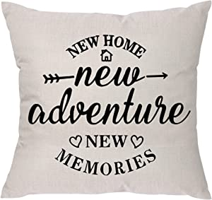 Aeora House Warming Gifts - New Home New Adventure New Memories Funny Pillow Covers, New Home Gifts for Friends Parents Relatives Him Her