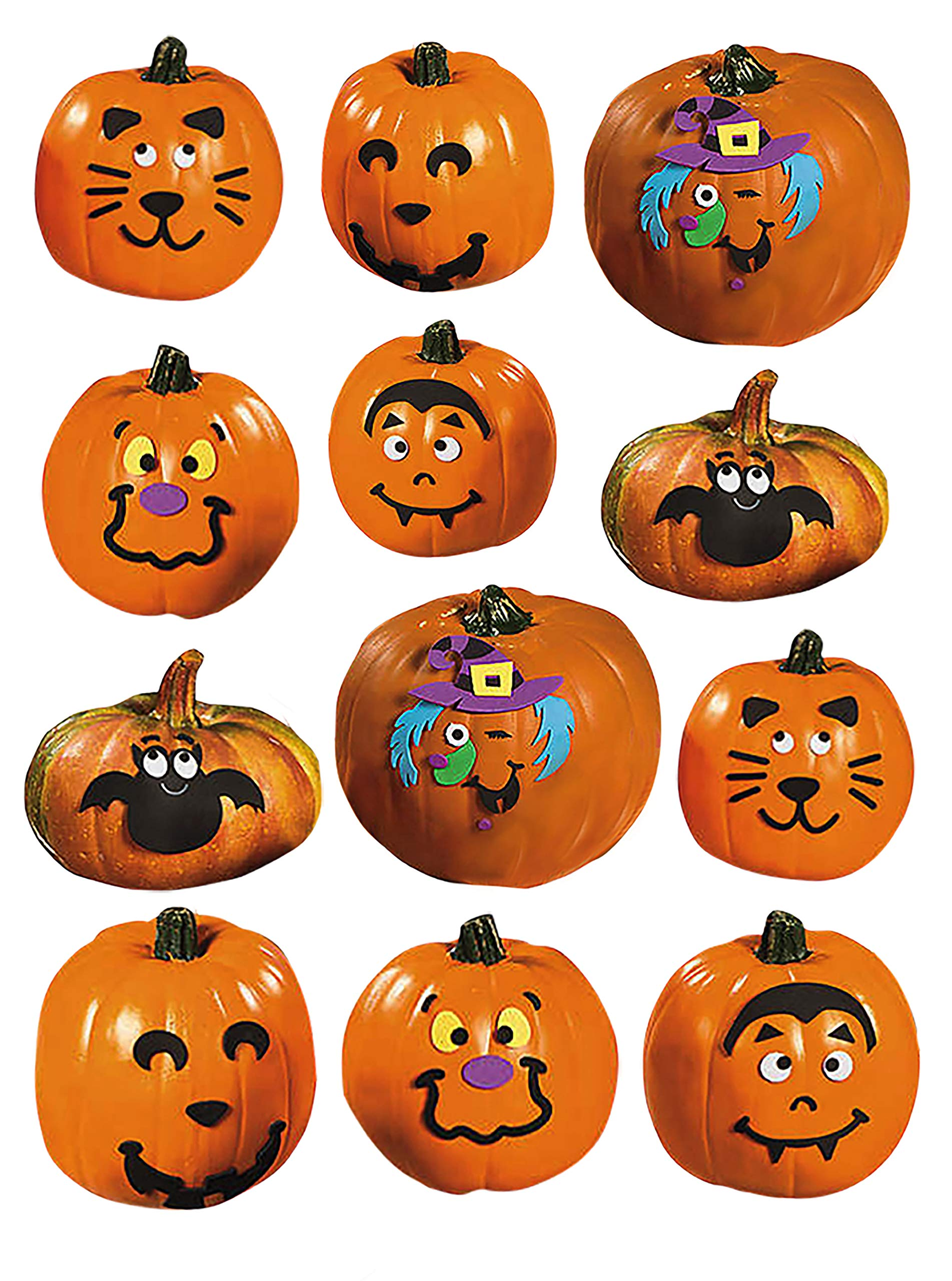 Foam Pumpkin Decorating Kits - Set of 24 Halloween Crafts for Kids by 18th Street Party Supplies (Image #3)