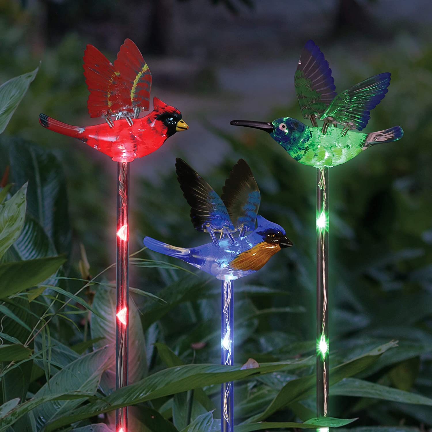 Exhart Solar WindyWing Garden Stake Set of Cardinal, Hummingbird and Blue Bird with Colored LED Lights, 4 by 27 Inch