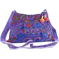 Changnoi Beautiful Purple Bird Hippie Crossbody Bag Hmong Embroidery Handmade by Hmong
