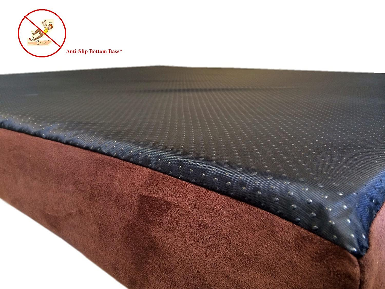 55 x47 x4 Chocolate Brown Anti Slip Washable Microfiber Suede Waterproof Orthopedic True Solid High Density Memory Foam Therapeutic Pad Pet Super Big Dog Bed Crate FREE 2nd External Washable Cover