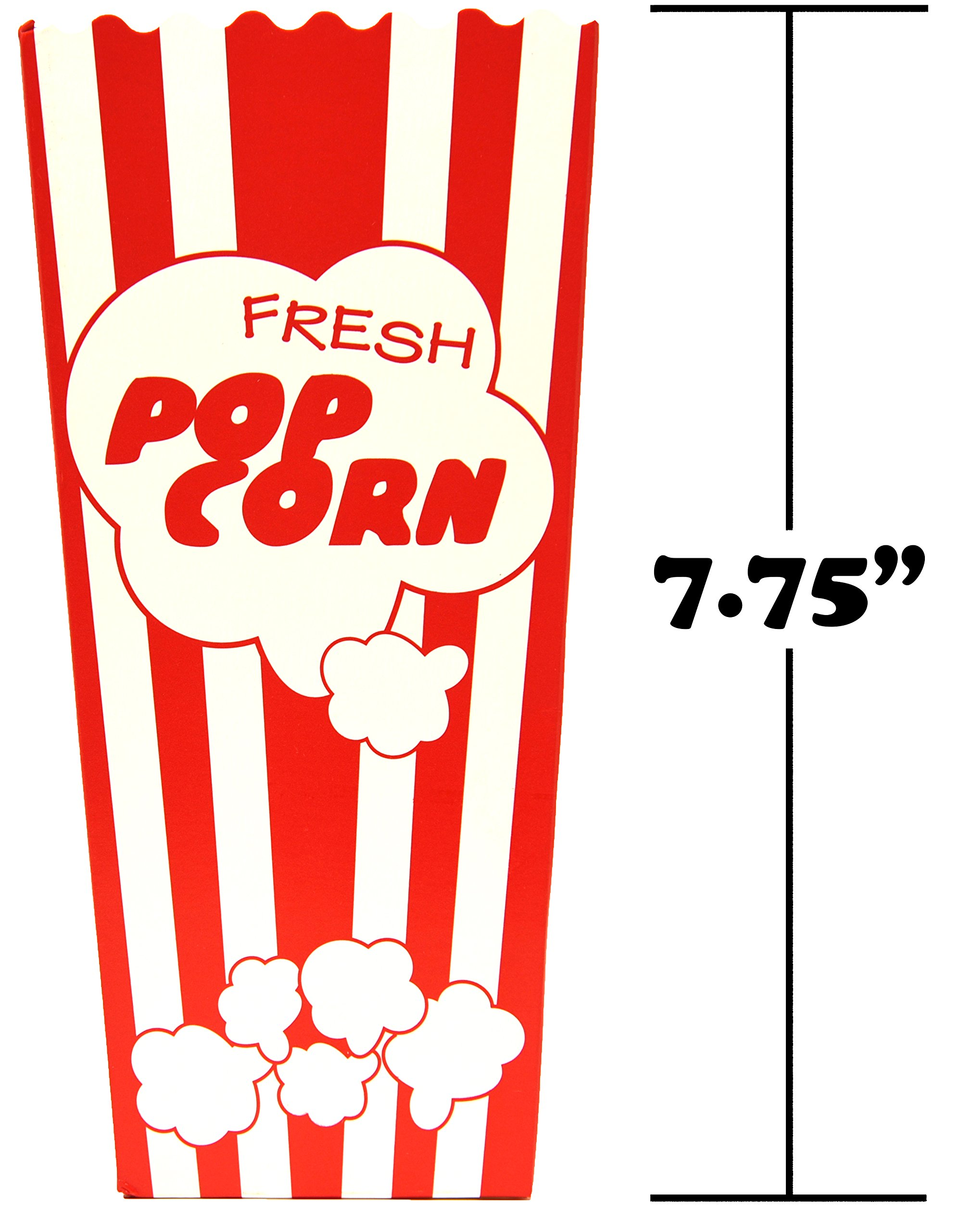 60 Individual Disposable Popcorn Boxes with Old Fashion Vintage Retro Design with Red and White Colored, Nostalgic Carnival Stripes, A Huge 7.75'' Inches Tall and Hold 46 Oz. by Original Salbree by Salbree (Image #3)