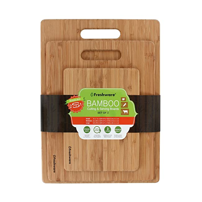 Freshware Bamboo Cutting Board, Set of 3