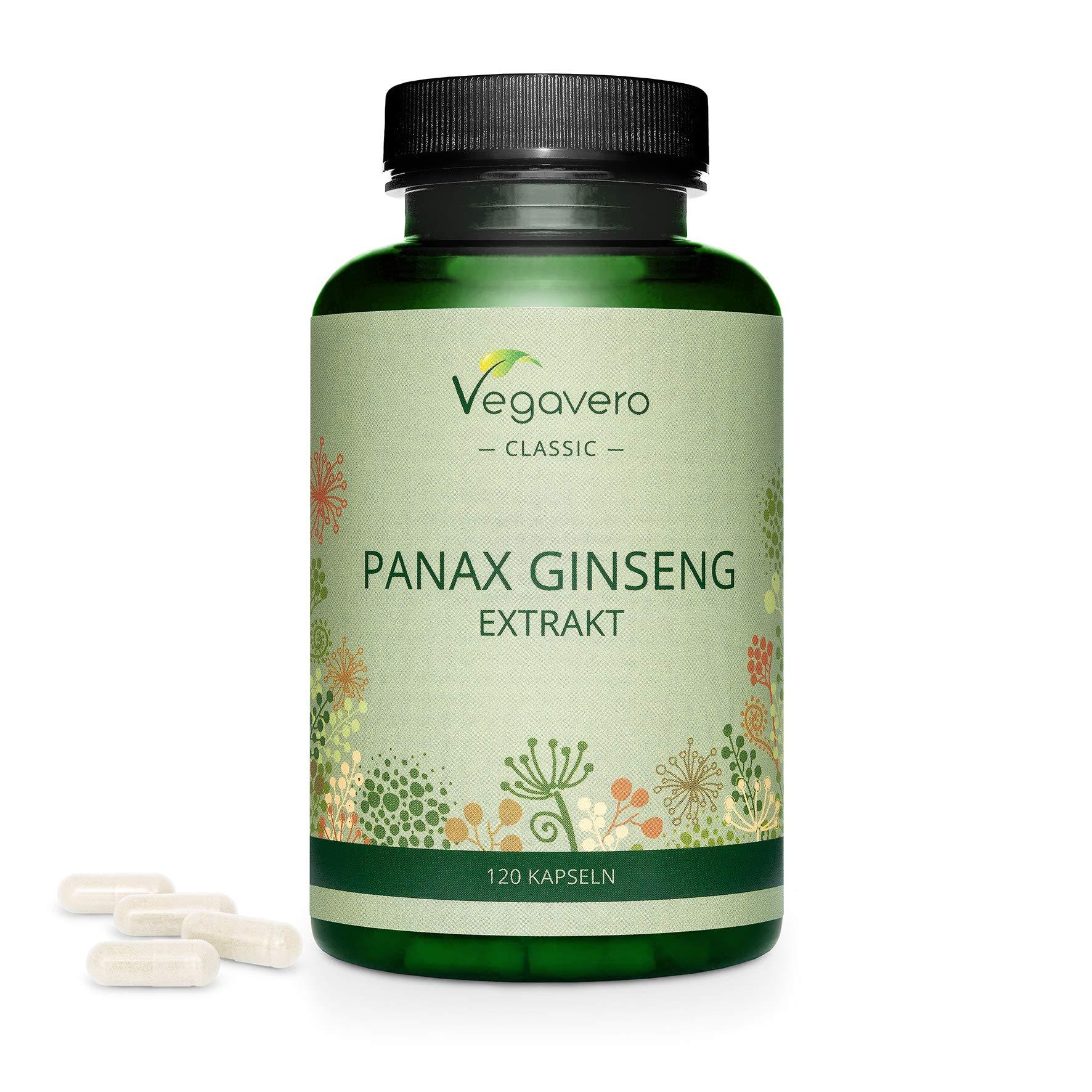 Panax Ginseng Vegavero® | 4800 mg Panax Ginseng- High Strength (8:1 Extract) | NO Additives | 20% Ginsenosides | 120 Capsules | 100% Vegan