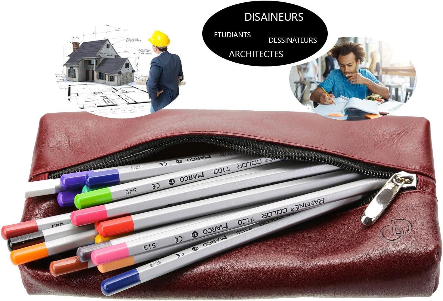 Cuir Crayons stylos Archi 100/% Cuir 21 x 11 cm -Trousses Scolaires Grande Trousse en Cuir Olimar Dor Bordeux Etudiants Organisateur Dessinateurs
