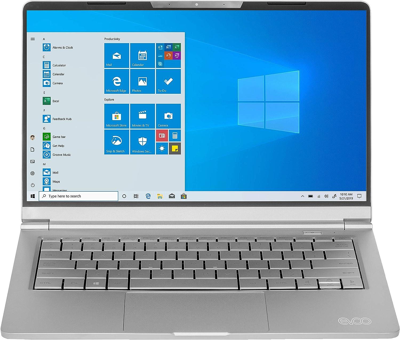 "Evoo 14.1"" Ultra Slim Notebook - Elite Series, FHD Display, AMD Ryzen 5 3500U Processor with Radeon Vega 8 Graphics, 8GB RAM, 256GB SSD, HD Webcam, Windows 10 Home, Silver, EVC141-12SL"
