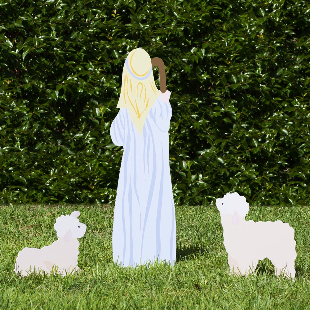 Outdoor Nativity Store Outdoor Nativity Set Add-on - Shepherd and Sheep (Standard, Color)