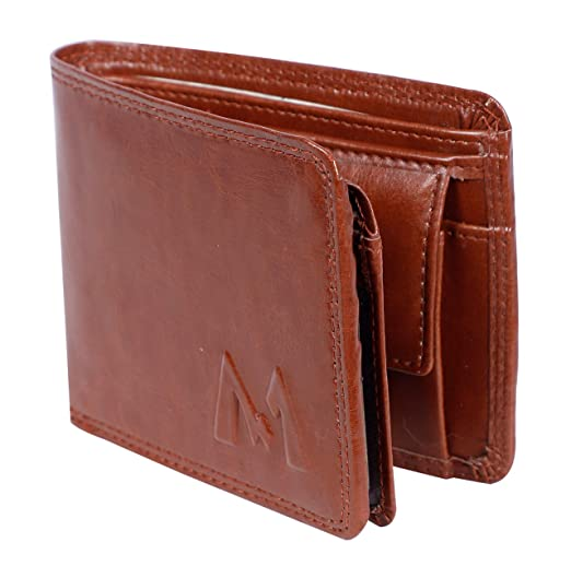 M MEDLER Men Casual Tan Genuine Leather Wallet Wallets