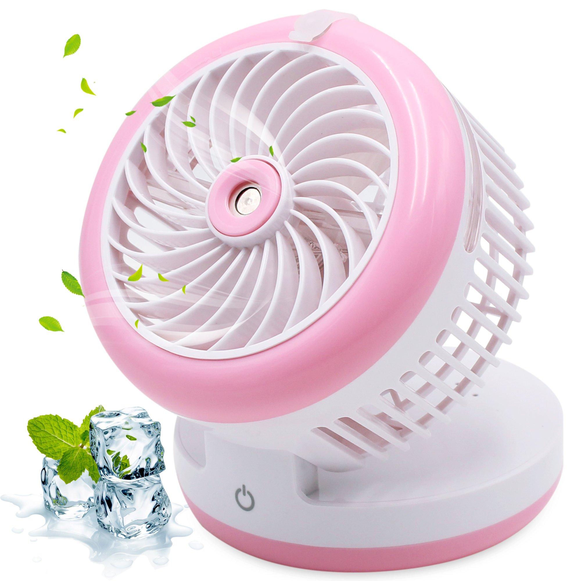 Portable Handheld Misting Fan Mini USB Fan Multifunction 3 in 1 Cooling Fan,Beauty Humidifier,Power Bank Water Spray Fan for Home, Office, Kitchen, Bedroom, Desktop, Traveling, Hiking, Biking (Pink)