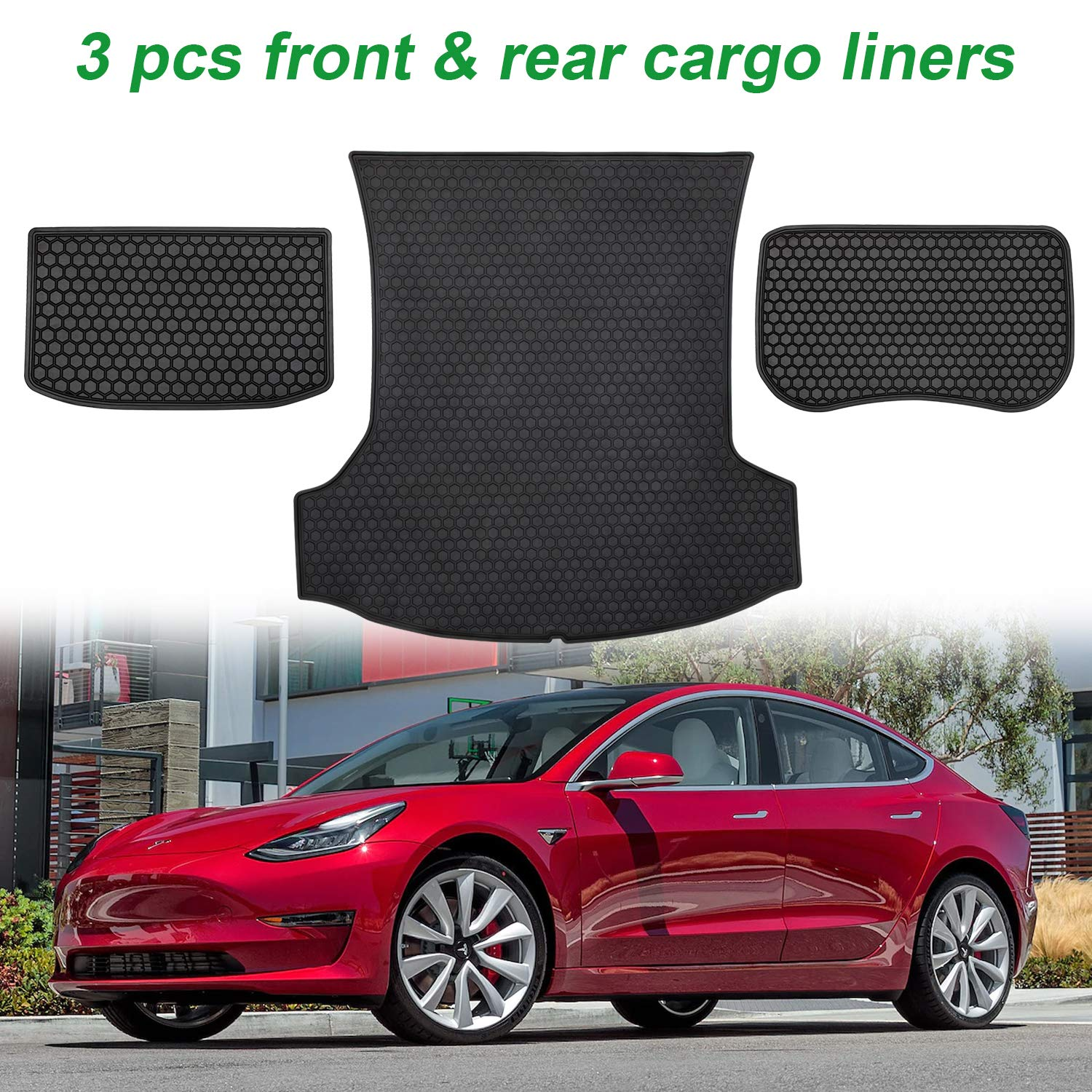 Danti Floor Liners Mat All Weather Interior Set for 2017-2019 Tesla Model 3 Rubber Slush Front and Rear Seat Waterproof Protection Floor Mats 6pcs//Set