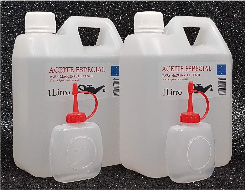 Aceite maquina de coser. Especial Incoloro - Lubricante para Maquinas de Coser y mecanismos varios. 2 Litros + 2 Aceiteras de 50cc. vacias.