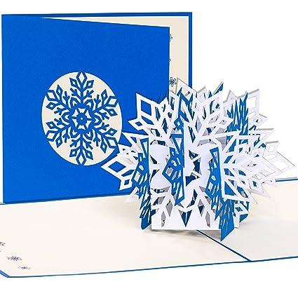 Tarjeta de Navidad copo de nieve, tarjeta 3D pop up con ...