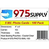 """975 Supply - 5 Mil - 4"""" x 6"""" Photo Laminating Pouches - 100 Pouches"""