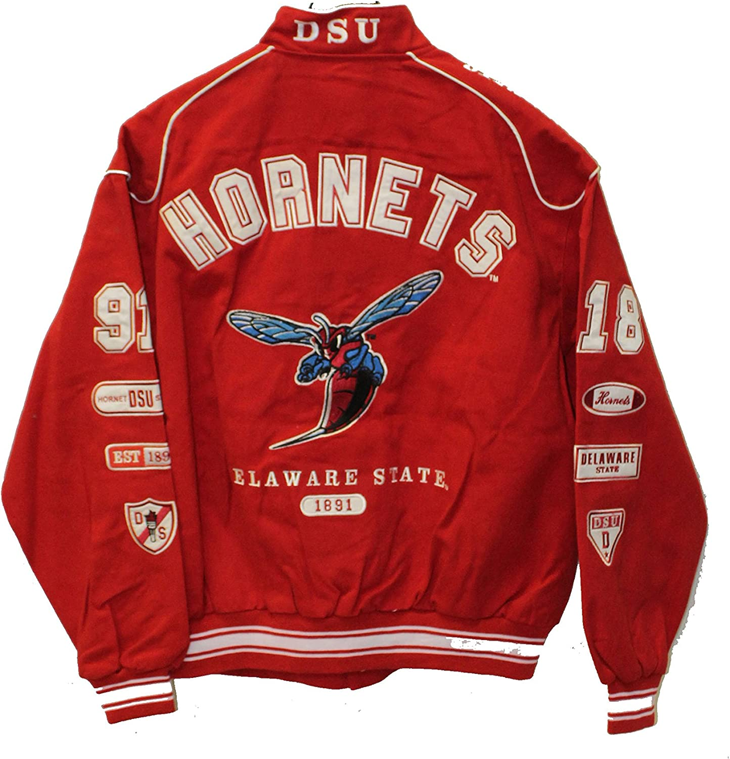 Delaware State Hornets Crest and EST Date on Snap Racing Jacket