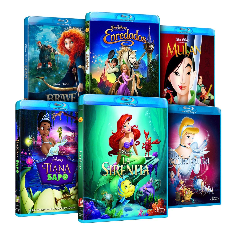 Pack Princesas Disney La Sirenita + Enredados + Mulán + Tiana Y El Sapo + La Cenicienta + Brave Blu-ray: Amazon.es: Cine y Series TV