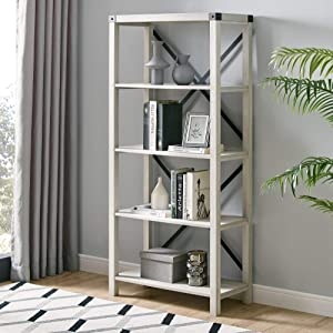Walker Edison Modern Farmhouse Wood Bookcase Bookshelf Home Office Living Room Storage, 64 Inch, Stone Grey