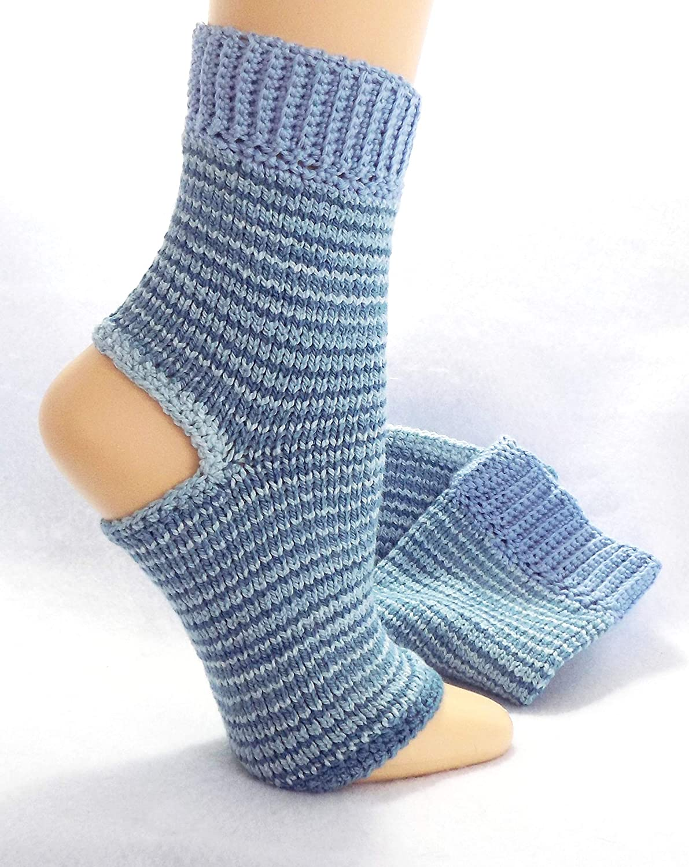 Amazon Blue Yoga Toeless Sock Handmade Flip Flop Socks Stripe
