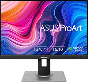 "ASUS ProArt Display PA248QV 24.1"" WUXGA (1920 x 1200) 16:10 Monitor, 100% sRGB/Rec.709 ΔE < 2, IPS, DisplayPort HDMI D-Sub, Calman Verified, Eye Care, Anti-Glare, Tilt Pivot Swivel Height Adjustable"