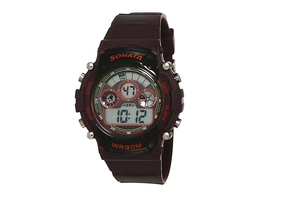 Sonata Digital Brown Dial Men's Watch -NL77006PP03