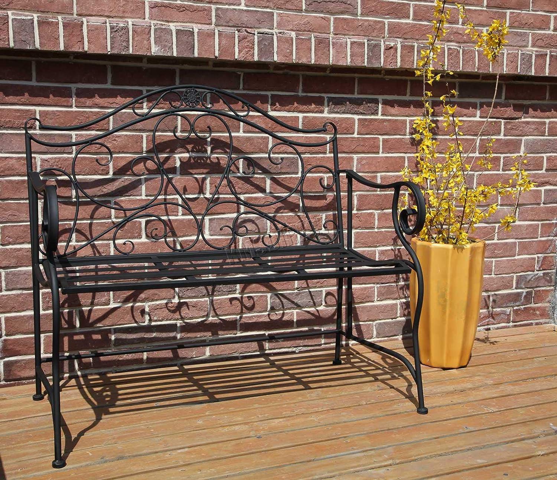 Colore: Nero Stile Vintage Westwood MGB02 Panca da Giardino a 2 posti ornata in Ferro Anticato in Metallo e Acciaio