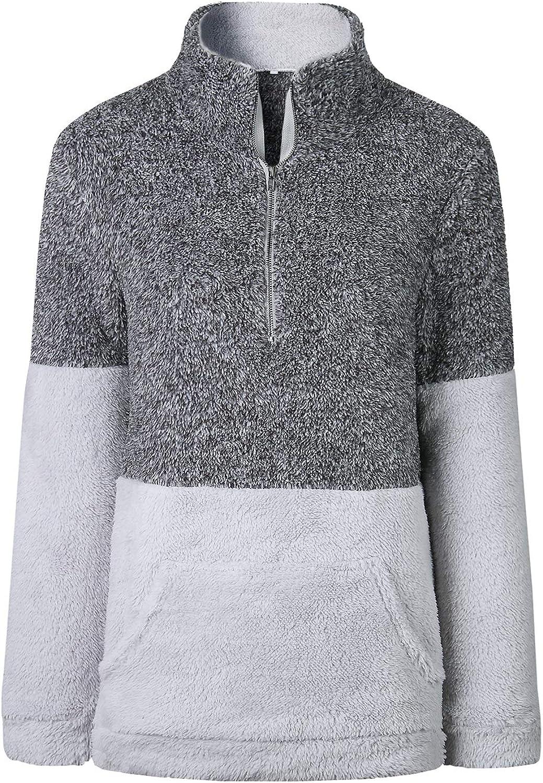 Women's Fuzzy Casual Teddy Coat Zipper Fleece Warm Winter Outwear Pullover S-XL