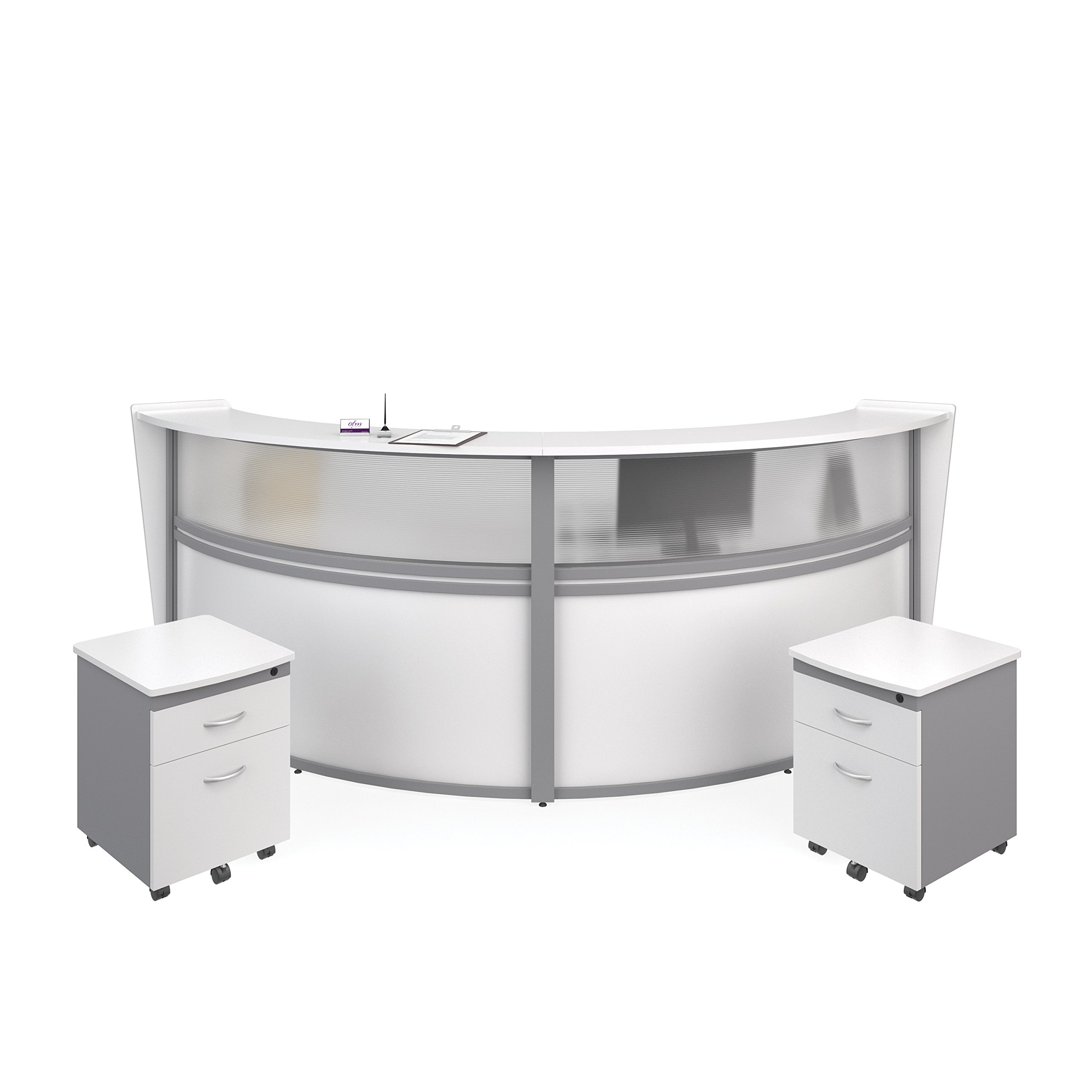 OFM Marque Series Plexi Double-Unit Curved Reception Station - Office Furniture Receptionist/Secretary Desk with Two White Pedestals (PKG-55312-WHITE)