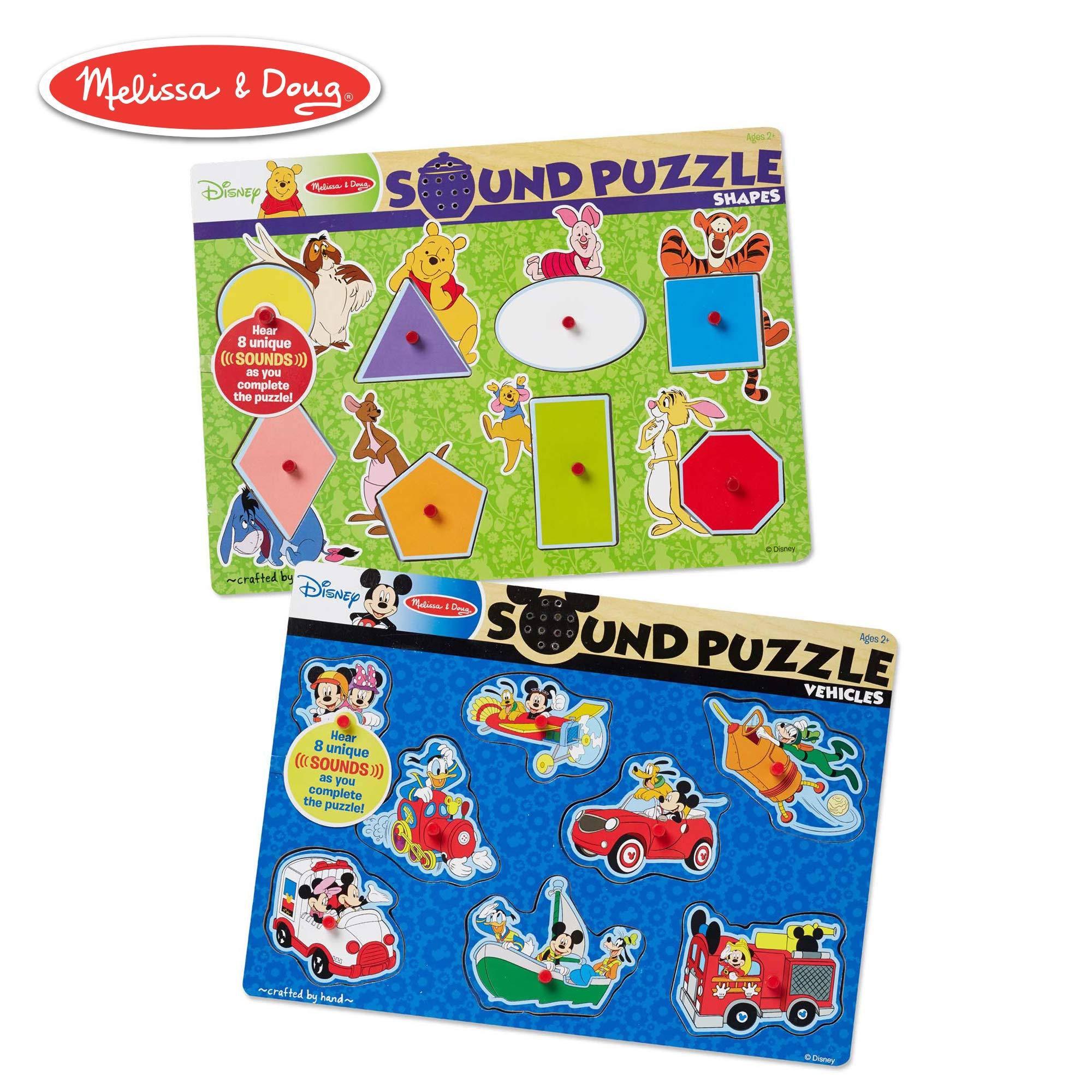 Melissa & Doug Disney Sound Puzzles Set: Winnie the Pooh Shapes and Mickey Mouse Vehicles by Melissa & Doug