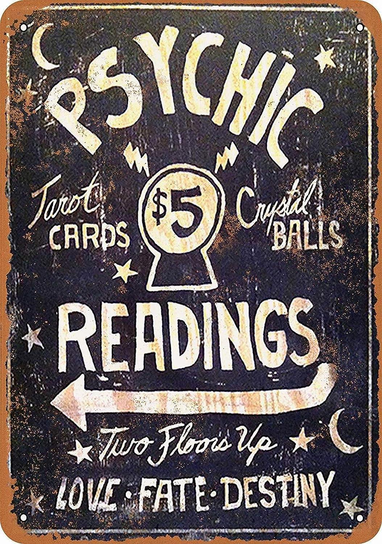 Fsdva 8 x 12 Metal Sign - Psychic Readings $5 Tarot Cards Crystal Balls - Vintage Wall Decor Art