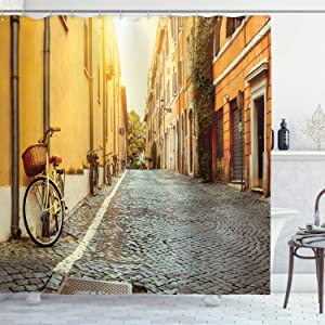Ambesonne Wanderlust Shower Curtain, Street in Rome Italy Bicycle Travel Honeymoon Destinations, Cloth Fabric Bathroom Decor Set with Hooks, 70