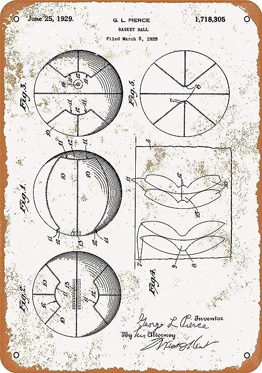 MNUT 1929 Cartel de Metal con diseño de Canasta de Baloncesto ...
